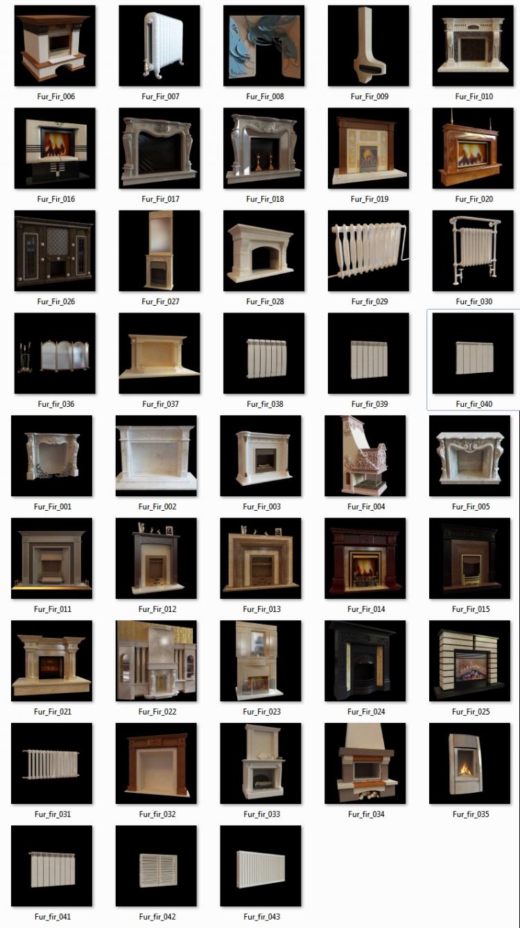 Thư viện 3DsMax về 43 Model Lò sưởi châu âu full download