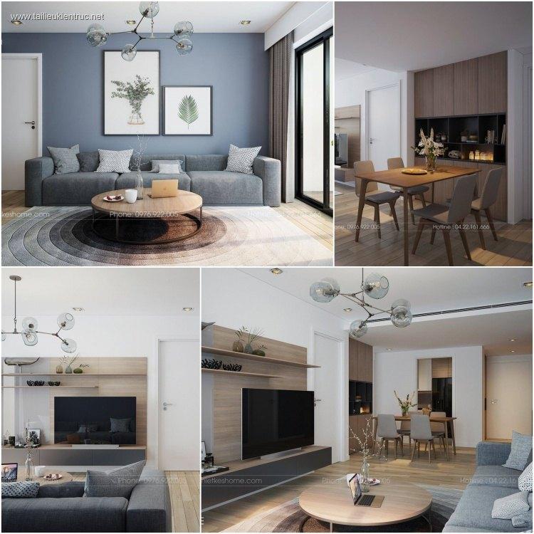 Phối cảnh nội thất 3D phòng khách + Bếp ăn với phong cách Hiện đại và đẹp 00058