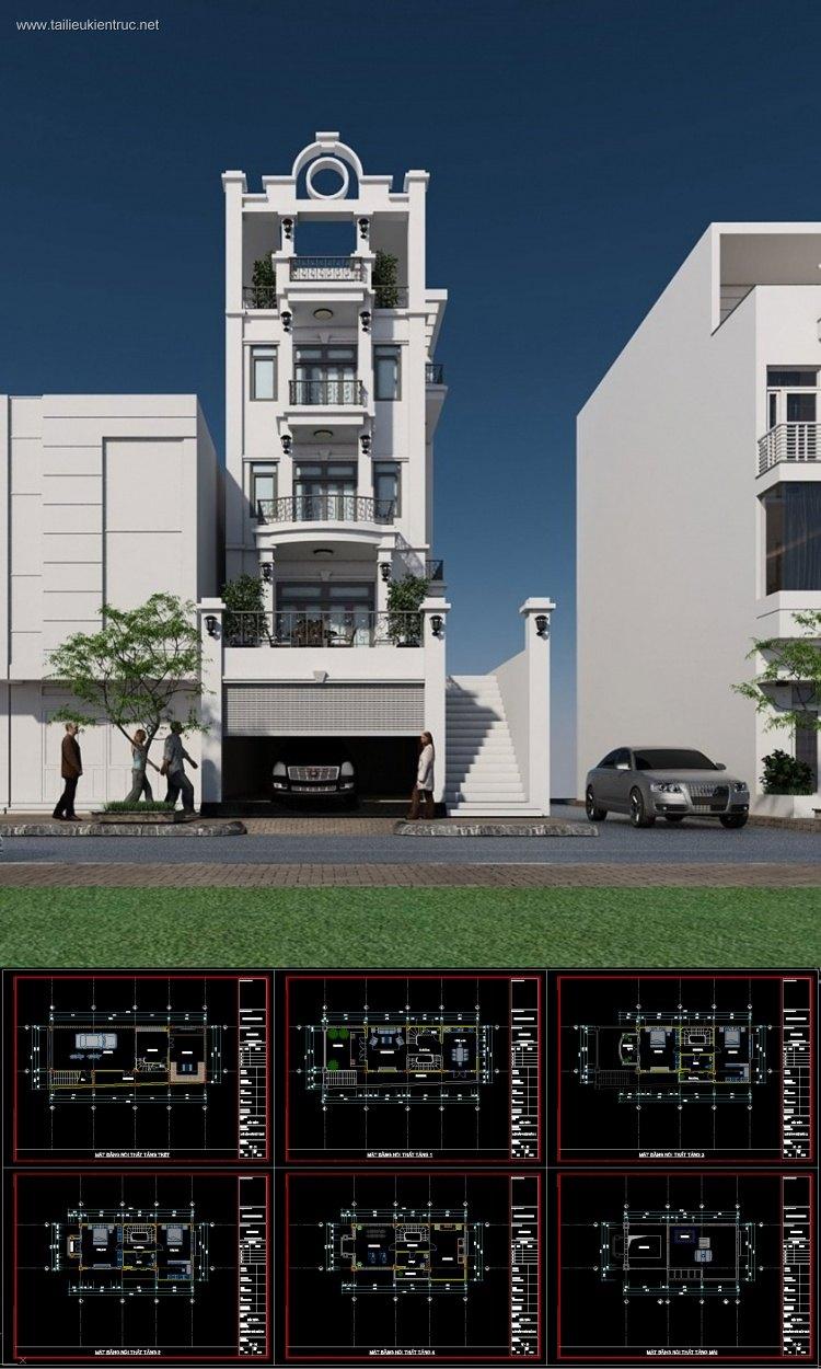 Hồ sơ thiết kế nhà phố 4 tầng diện tích 7,5x18,7m 098 tân cổ điển Full kiến trúc