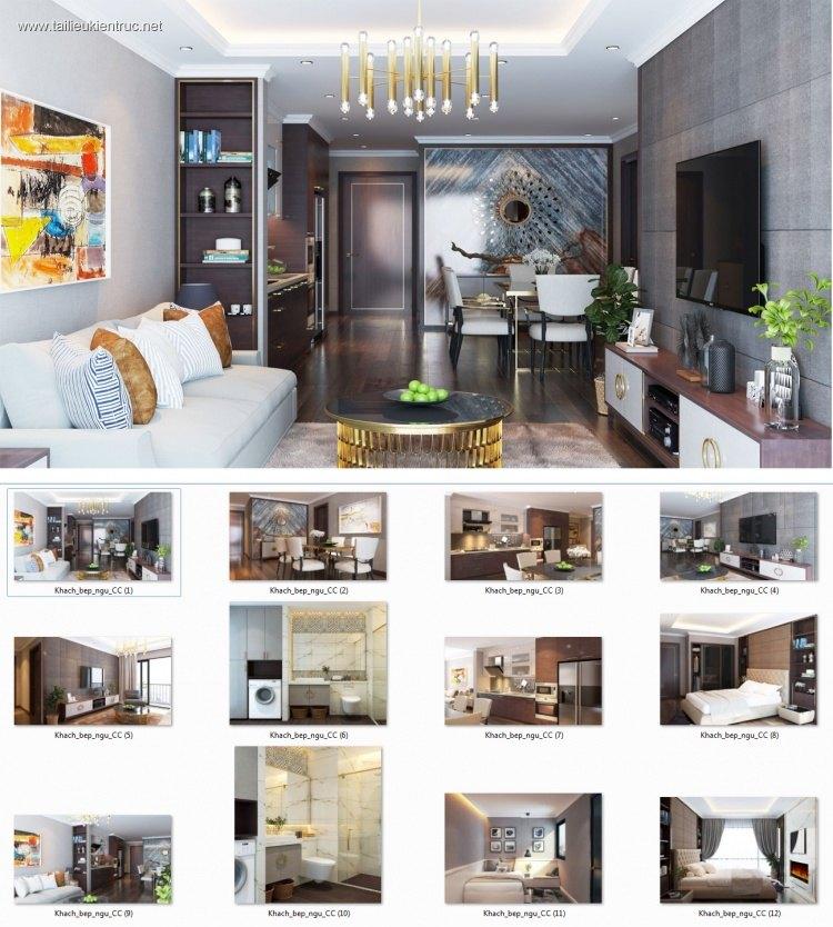 Phối cảnh nội thất 3D phòng khách + Bếp ăn + Ngủ chung cư phong cách và đẹp 00060