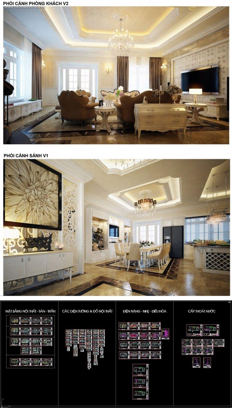 Hồ sơ thiết kế thi công nội thất Biệt thự 3 tầng Vincom mẫu 007 Full