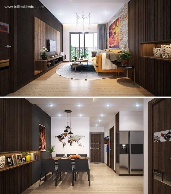 Phối cảnh nội thất 3D phòng khách + Bếp ăn chung cư phong cách và đẹp 00062