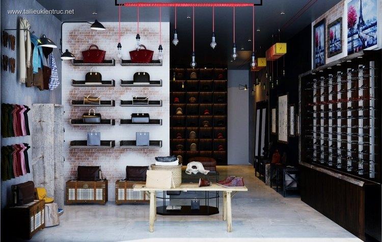 Phối cảnh 3d Nội thất Shop Thời trang phong cách Hiện đại 008