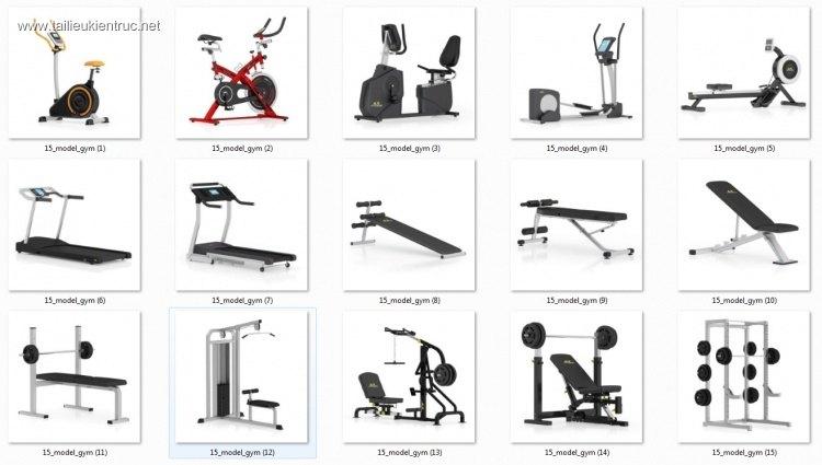 Tổng hợp 15 Model dụng cụ tập Gym 02 full download