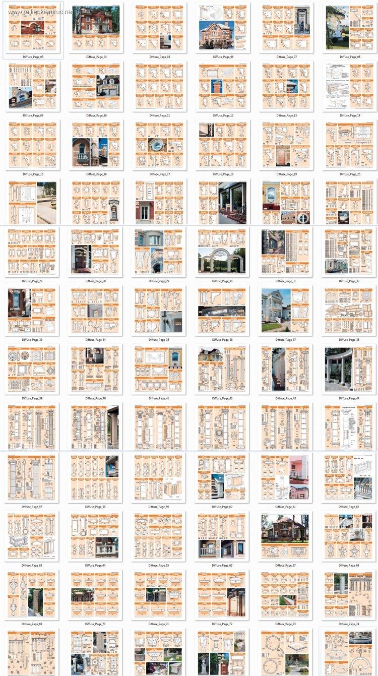Thư viện Autocad tổng hợp các chi tiết Mặt cắt phào chỉ, trụ, cột tân cổ điển châu âu P1
