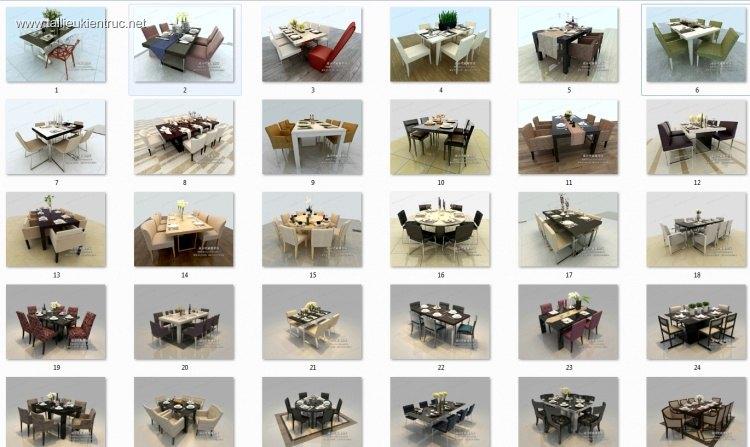 Thư viện 3dsmax tổng hợp 30 Model bàn ghế ăn các loại P3