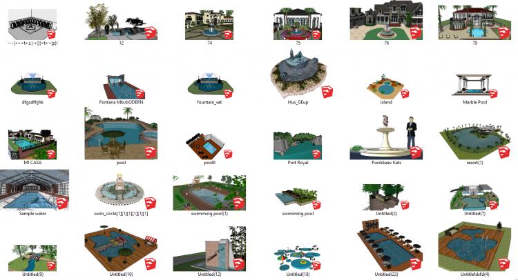 Tổng hợp 30 File Sketchup 3D Model Cảnh quan bể bơi, Đài phun nước đẹp P5