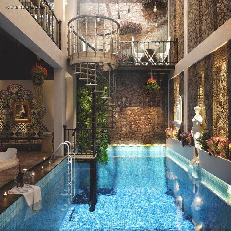 Phối cảnh 3dsmax Bể bơi spa tầng mái của Nhà phố MS01