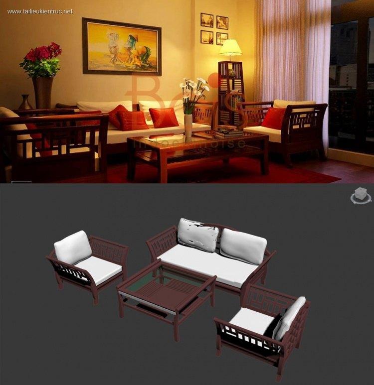 Thư viện model 3d Bàn ghế Sofa Gỗ phòng khách đẹp