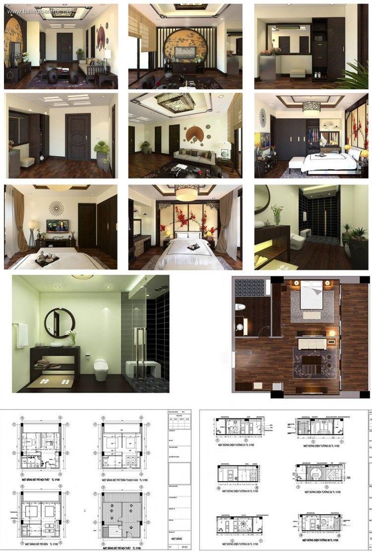 Phối cảnh nội thất 3D phòng khách + phòng ngủ nhà phố 00065