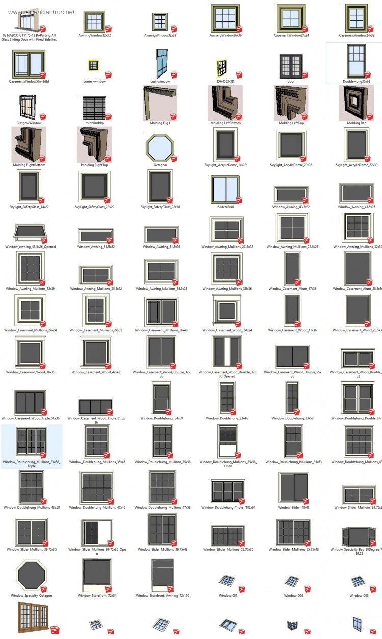 Tổng hợp Thư viện 129 Model 3d cửa sổ file Sketchup P2