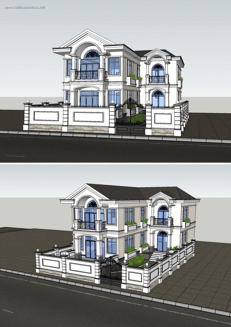 Phối cảnh 3d file Sketchup Biệt thự 3 tầng cổ 00024