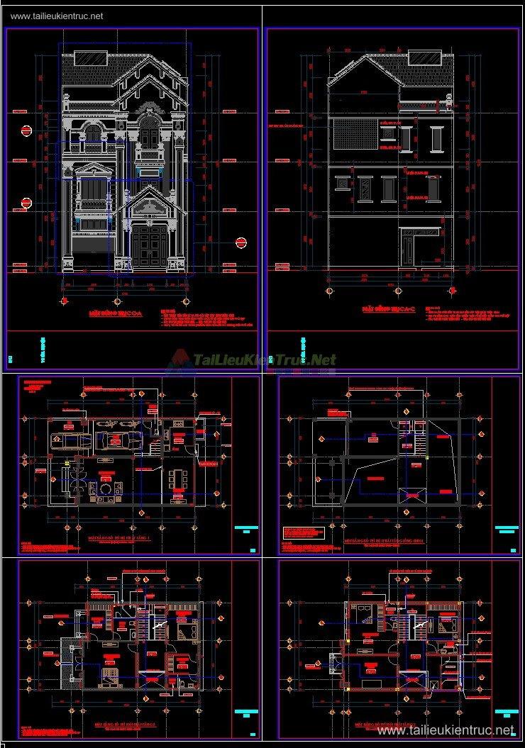 Hồ sơ thiết kế Biệt thự 3 Tầng Tân cổ điển pháp cổ diện tích 9x15m - 0092 Full