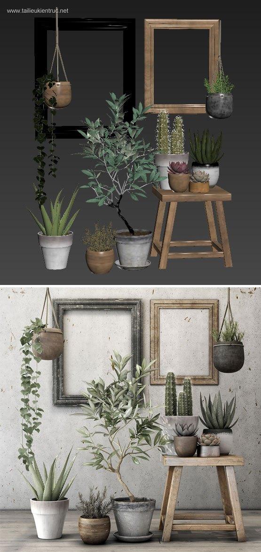 Thư viện 3d tổng hợp về các Chậu Cây nhỏ trang trí Plant Set đẹp P23