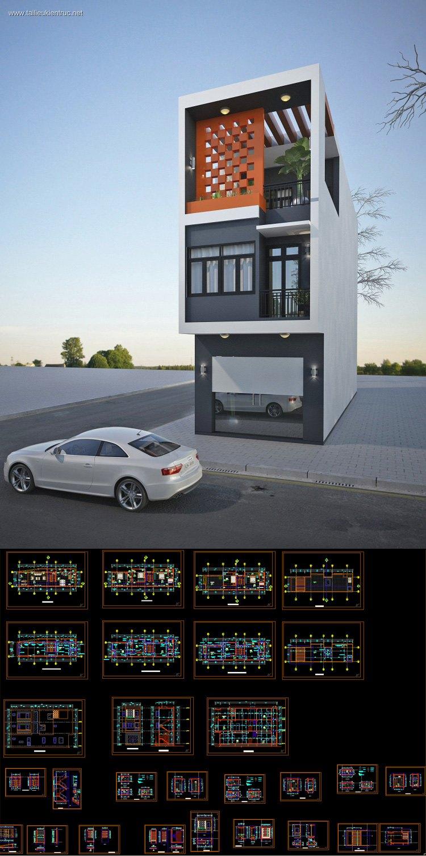 Hồ sơ thiết kế nhà phố 3 tầng diện tích 4,3x16,6m 101 Full kiến trúc