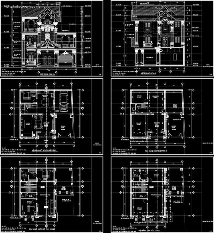 Hồ sơ thiết kế Biệt thự 3 Tầng Tân cổ điển pháp cổ diện tích 11x12,4m - 0094 Full Kiến trúc