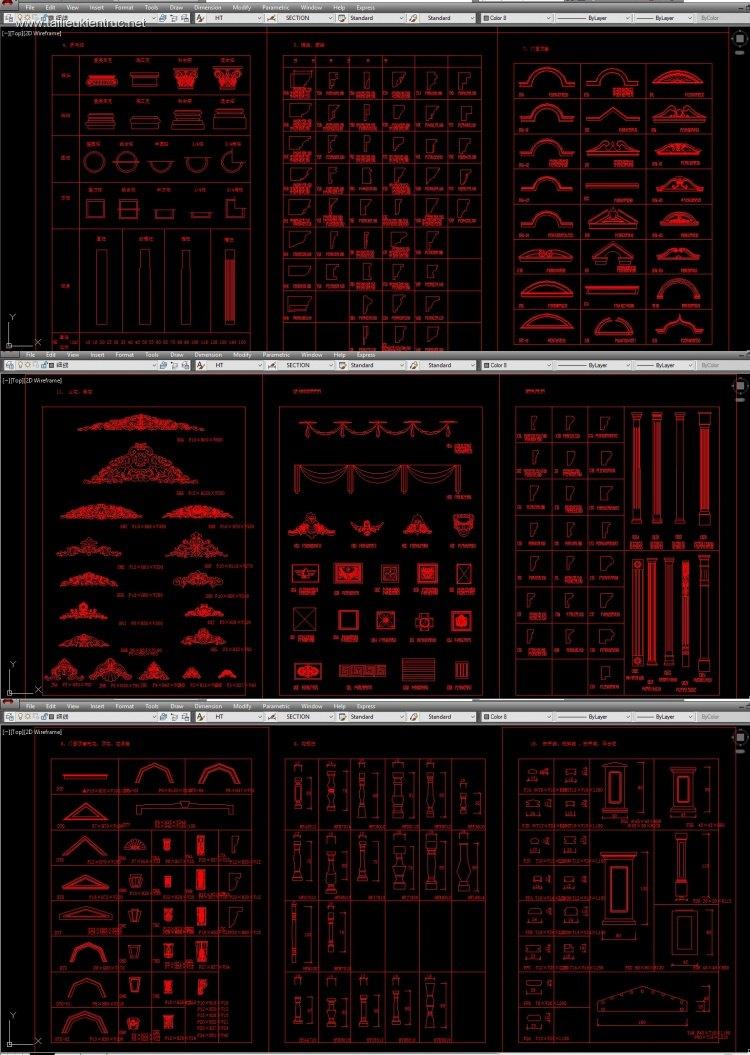 Thư viện autocad Tân cổ điển Tổng hợp về chi tiết Phù điêu, Chỉ bo tường, Con tiện, Đầu mái, Trụ tường