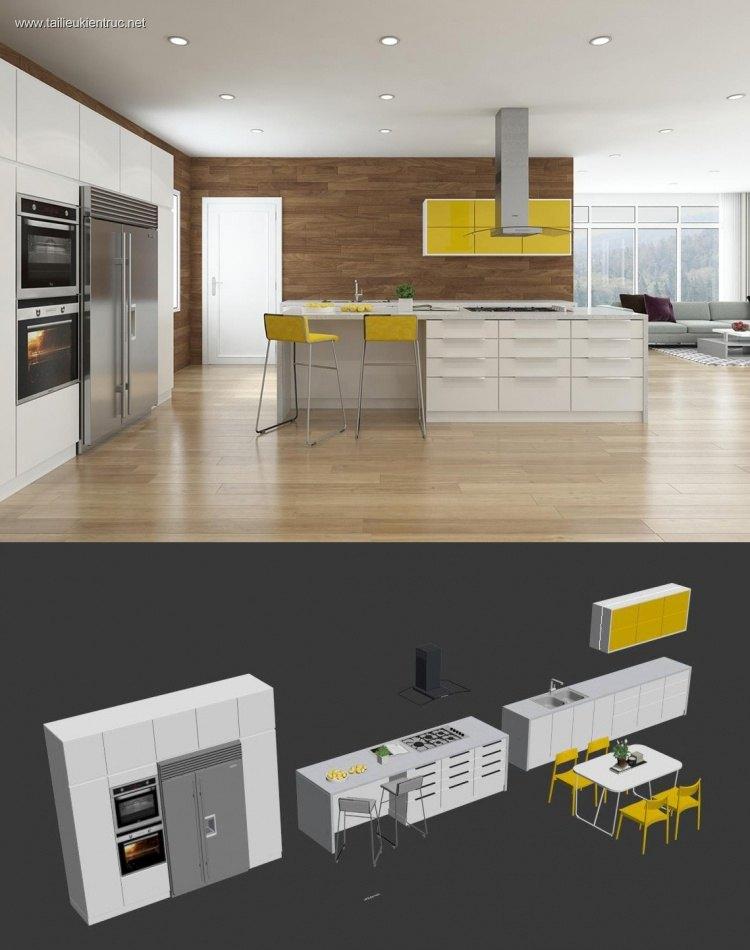Phối cảnh 3d Nội thất tủ Bếp phong cách hiện đại 0021