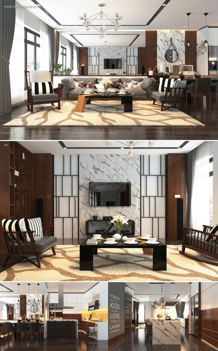 Phối cảnh nội thất 3D Phòng khách và Bếp ăn chung cư hiện đại đẹp 00072