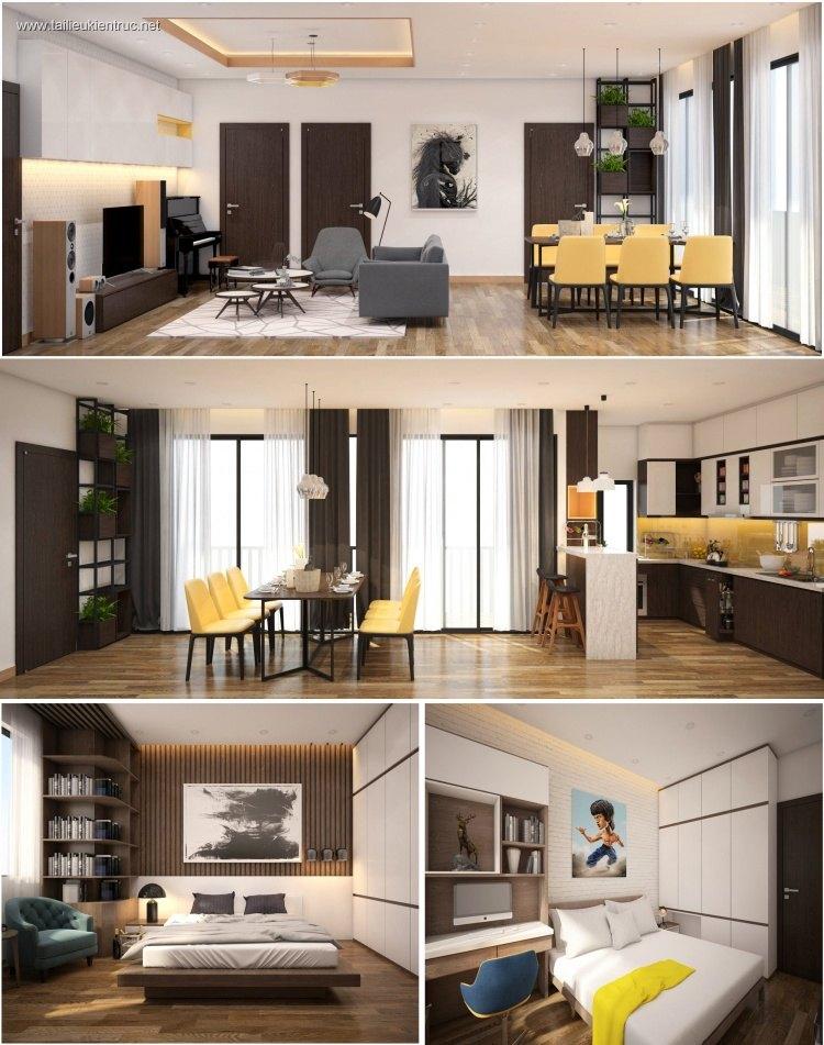 Phối cảnh nội thất 3D Phòng khách, Bếp ăn và ngủ chung cư hiện đại đẹp 00073