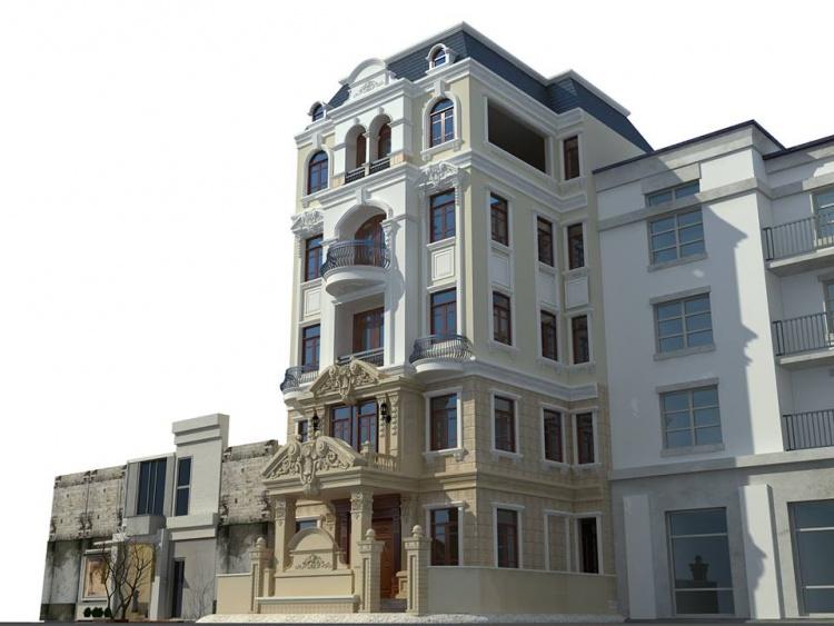 Thư viện 3dsMax Phối cảnh công trình Nhà phố phong cách Tân cổ điển pháp cổ 030