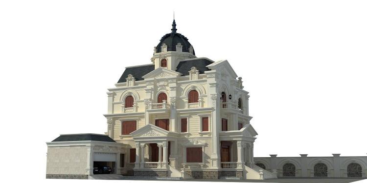 Phối cảnh 3d file Max Biệt thự 3 tầng tân cổ điển pháp cổ 00027