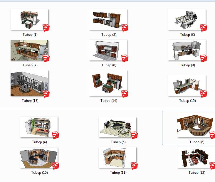 Thư viện tổng hợp Sketchup Tủ bếp các loại full 03