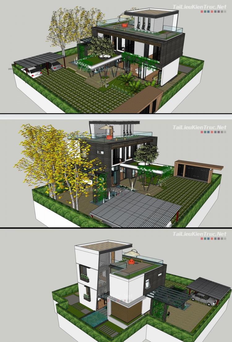 Phối cảnh 3d file Sketchup Biệt thự hiện đại đẹp 00029