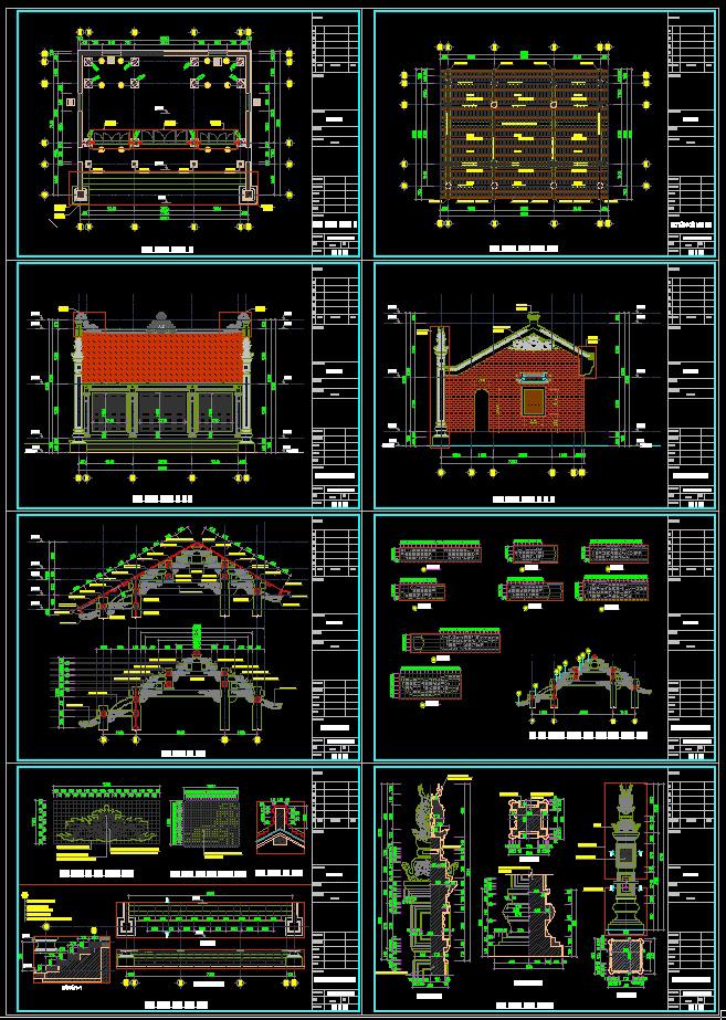 Hồ sơ thiết kế thi công nhà thờ họ mẫu số 010 diện tích 8,5x7,2m full kiến trúc