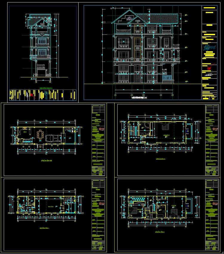 Hồ sơ thiết kế nhà phố 4 Tầng 2 mặt tiền pháp cổ diện tích 4,5x15m - 103