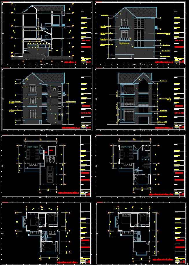 Hồ sơ thiết kế biệt thự chữ L 4 tầng mái thái diện tích 8,7x10,3m full kiến trúc
