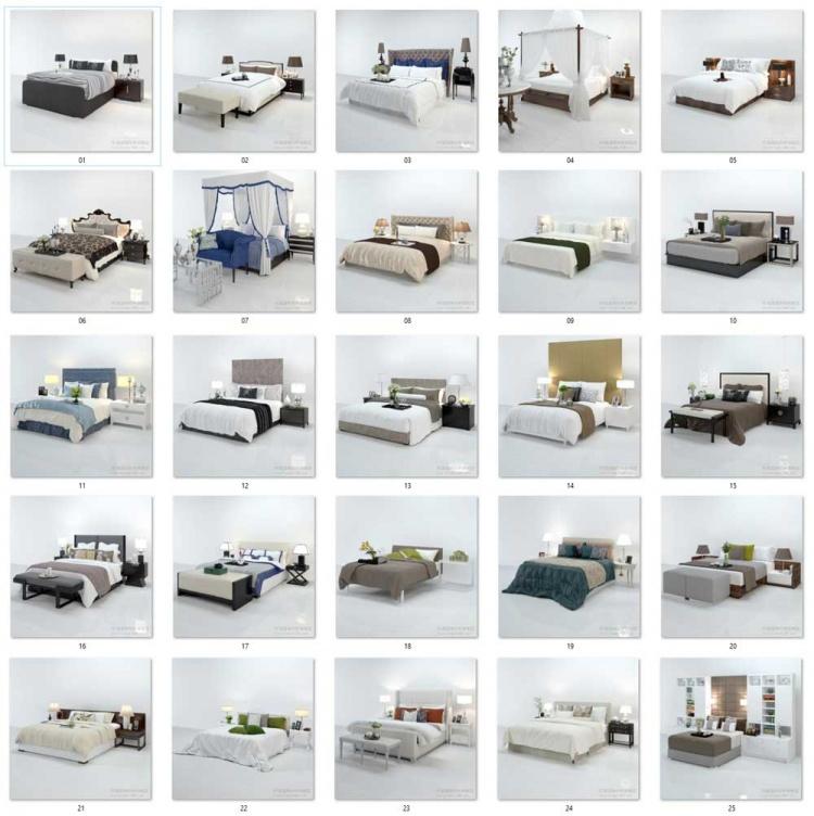 Tổng hợp Thư viện 3dsmax gồm 25 Model 3d Giường ngủ cực đẹp và chất lượng 06