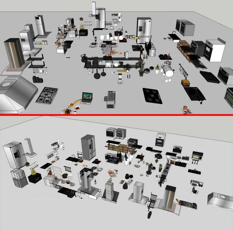 Thư viện Sketchup tổng hợp rất nhiều các Thiết bị bếp và đồ trang trí bếp P2