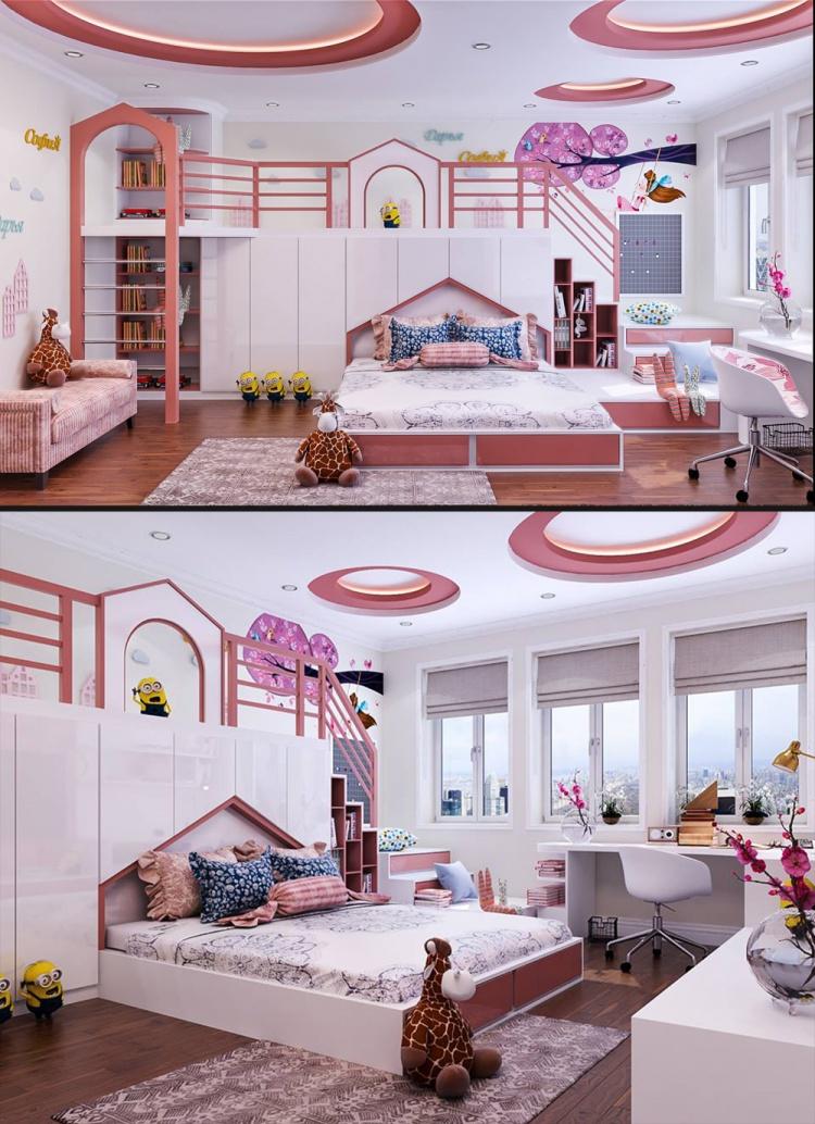 Sence Phòng Ngủ trẻ con 00017 - Thiết kế nội thất phòng con gái phong cách hiện đại