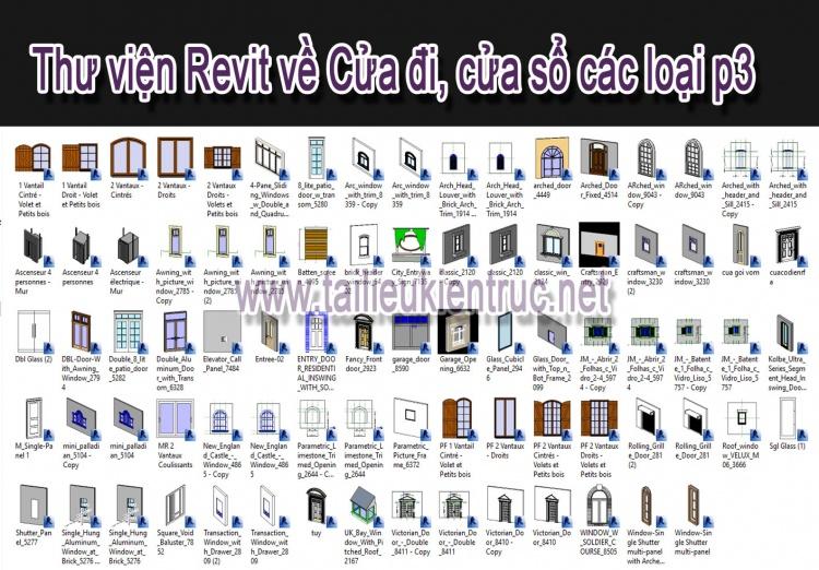 Thư viện Revit tổng hợp các loại Cửa đi, cửa sổ P3