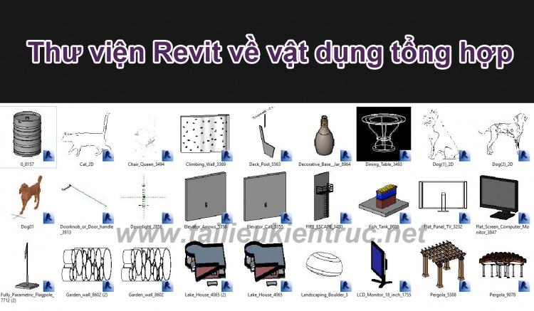 Thư viện Revit tổng hợp về dụng cụ vật dụng