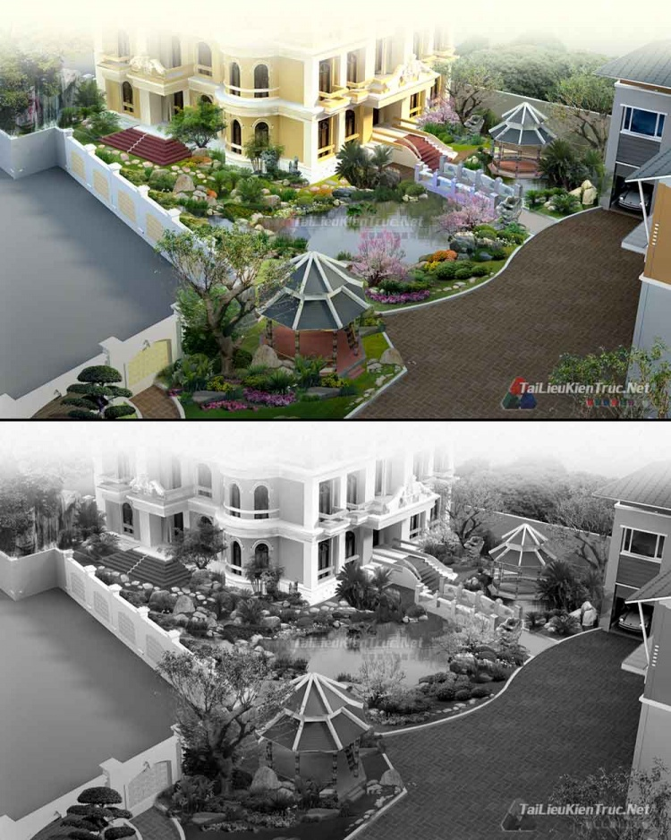 Thư viện Photoshop - File Psd phối cảnh cảnh quan công trình biệt thự Tân cổ điển P1