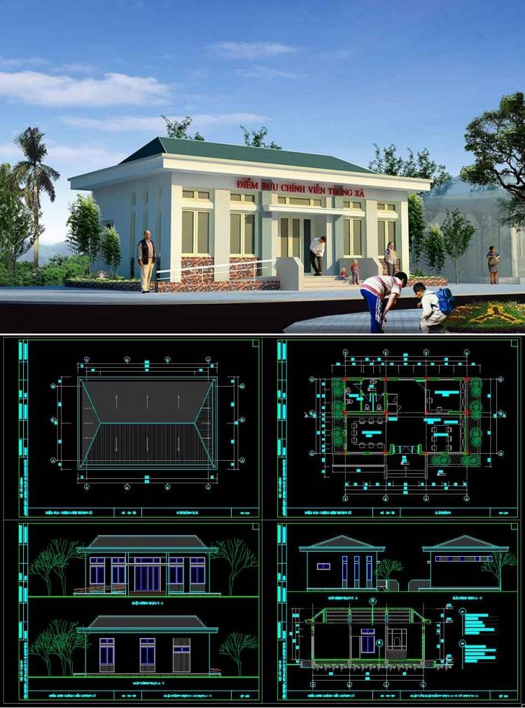Hồ sơ thiết kế phương án sơ bộ tòa nhà Bưu chính viễn thông Xã mẫu 01