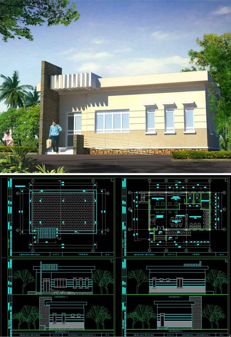 Hồ sơ thiết kế phương án sơ bộ tòa nhà Bưu chính viễn thông Xã mẫu 02