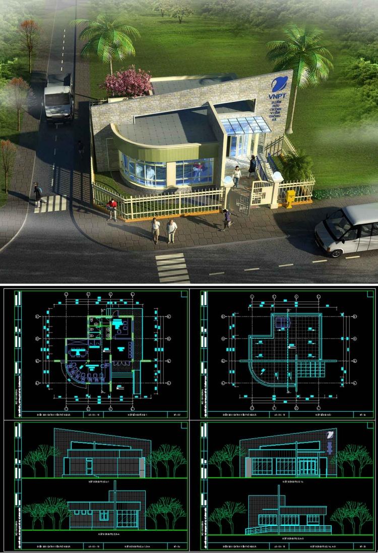 Hồ sơ thiết kế phương án sơ bộ tòa nhà Bưu chính viễn thông Xã mẫu 04