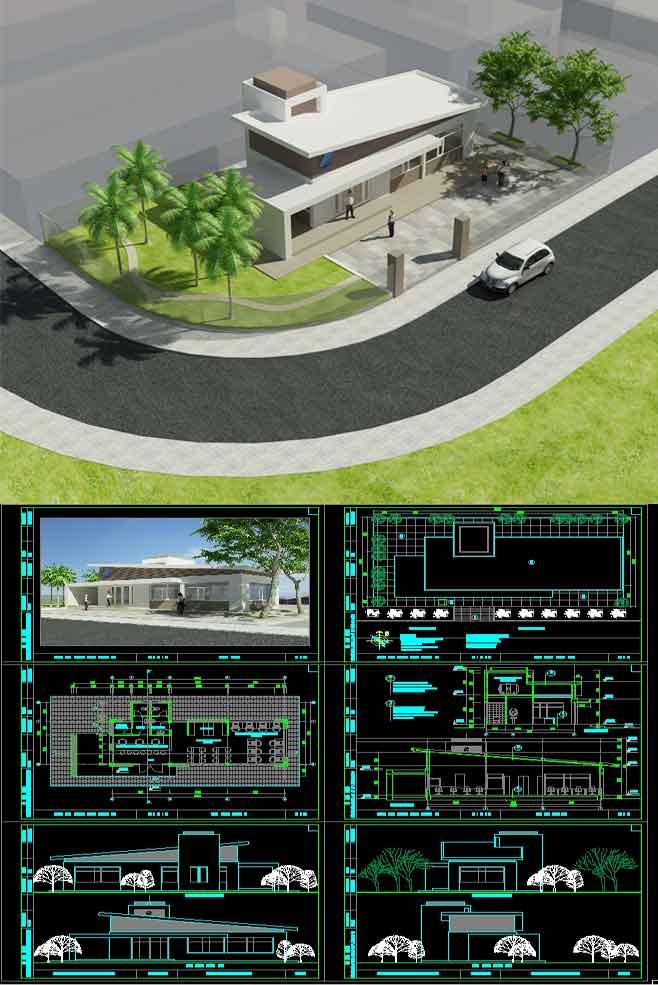 Hồ sơ thiết kế phương án sơ bộ tòa nhà Bưu chính viễn thông Xã mẫu 05