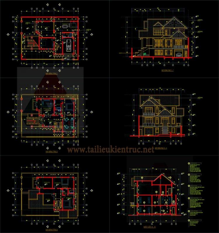 Hồ sơ thiết kế thi công Biệt thự 3 Tầng diện tích 15x16m - 0098 - Full Kiến trúc, kết cấu
