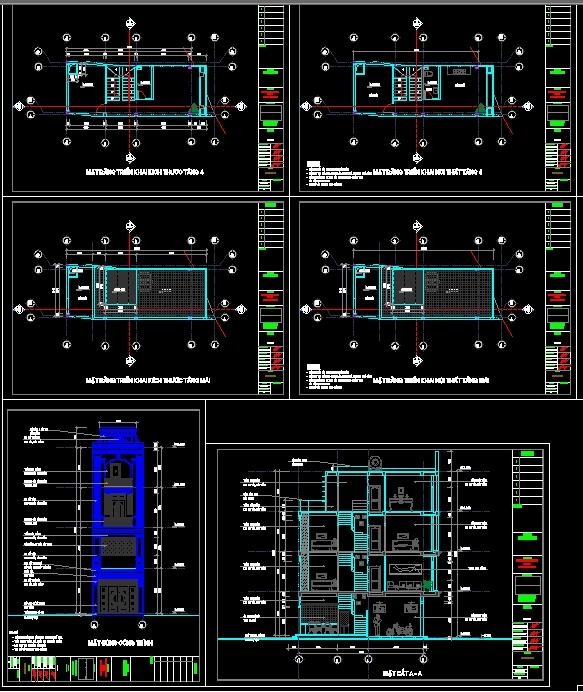 Hồ sơ thiết kế nhà phố 4 Tầng pháp cổ diện tích 4x10m - 105 gồm kiến trúc, điện nước