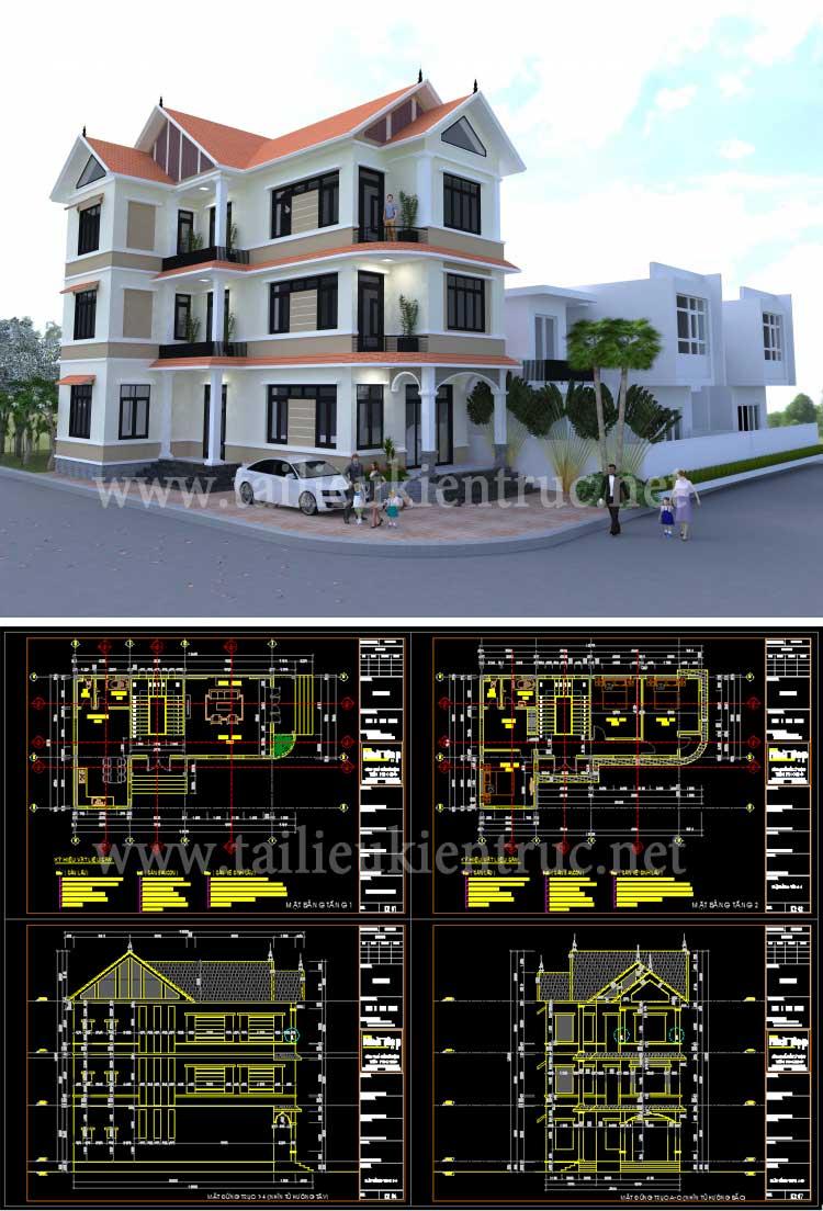 Hồ sơ thiết kế thi công Biệt thự 3 Tầng diện tích 9,3x16,6m - 0099 - Full Kiến trúc, kết cấu, điện nước