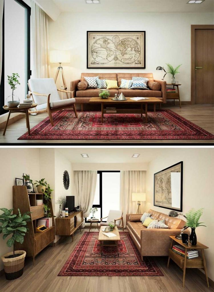 Phối cảnh nội thất 3D Phòng khách, Bếp ăn và ngủ chung cư hiện đại đẹp 00075