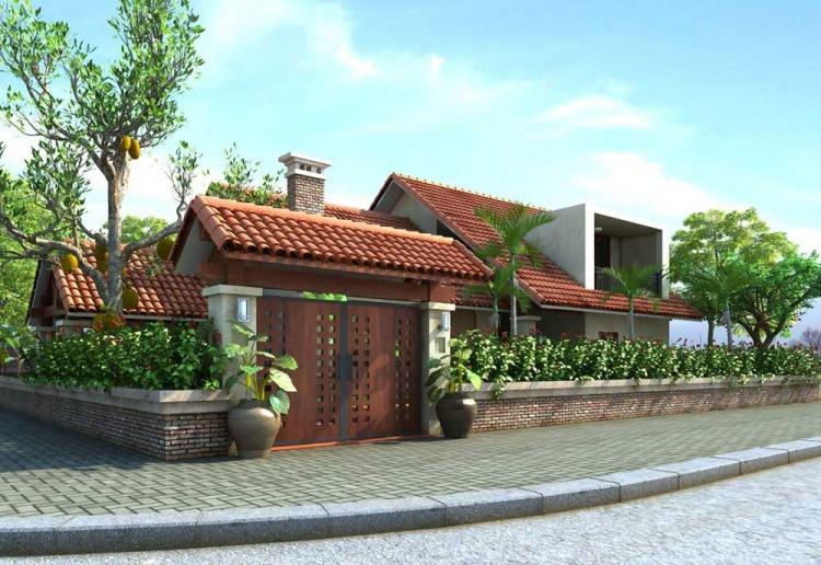 Phối cảnh 3d file Max Biệt thự vườn mái thái đẹp 00030