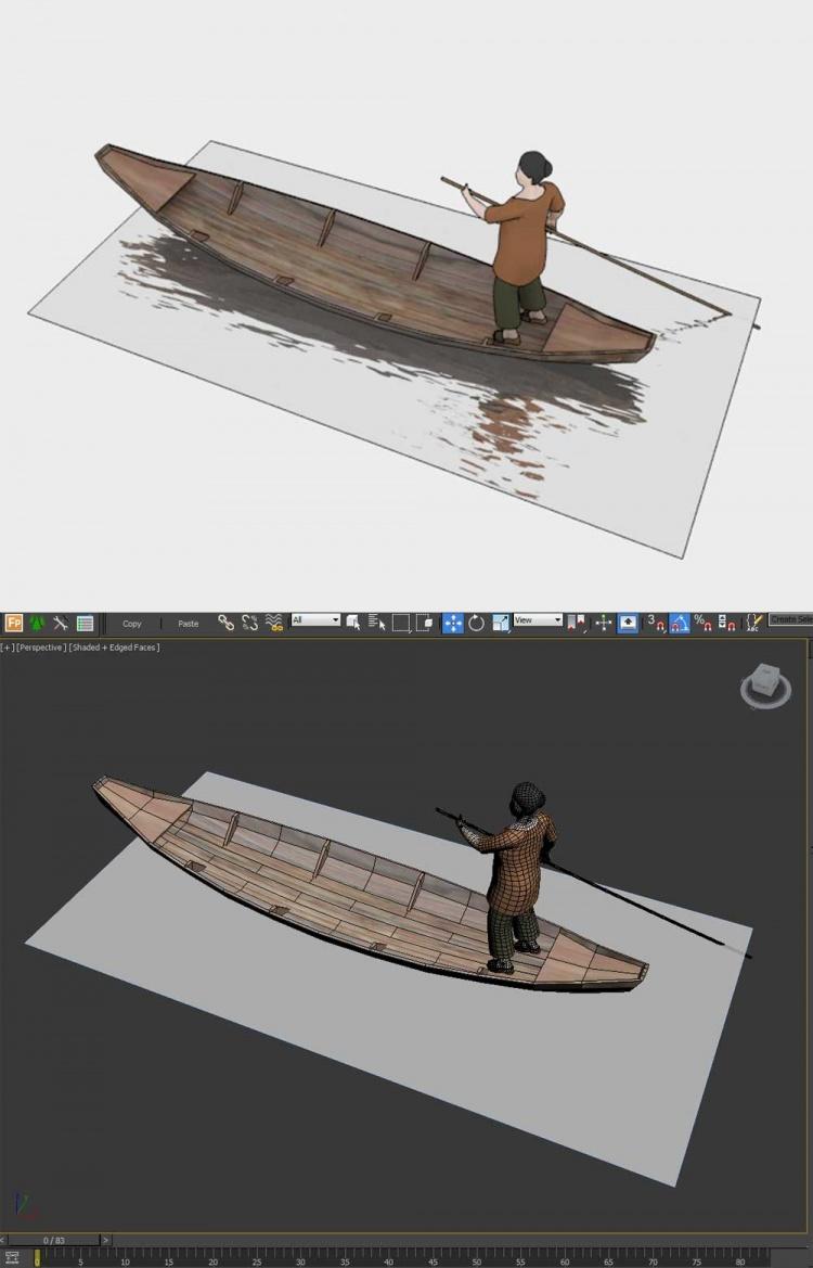 Thư viện 3d Model Người chèo thuyền 015