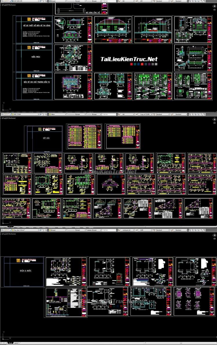 Hồ sơ thiết kế Nhà văn hóa Thôn Dân Phú mẫu 06 full Kiến trúc, kết cấu và điện nước