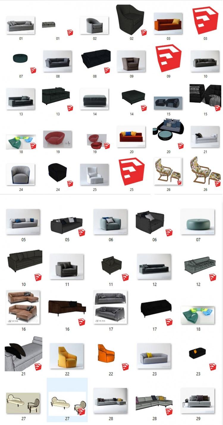 Thư viện Sketchup - Tổng hợp 28 Model Ghế Sofa các loại 001
