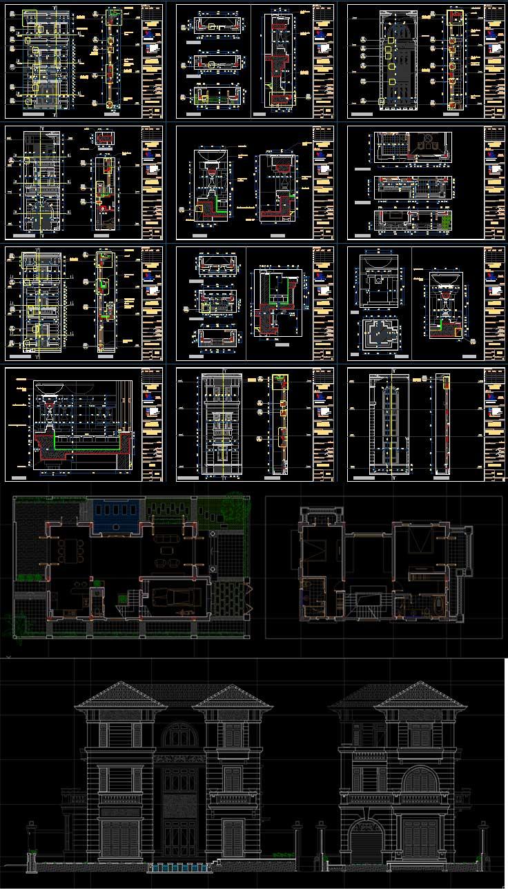 Hố sơ thiết kế biệt thự 3 tầng với diện tích 240m2 mẫu số 0104